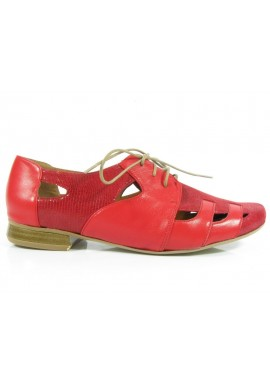 Półbuty ażurowe sandały czerwony Manufaktura JOZEFF