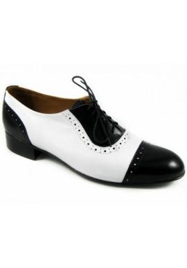 Półbuty męskie Jozeff oxfordy golfy biało- czarne