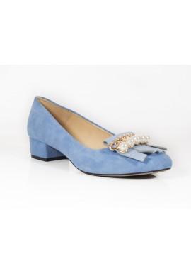 Mokasyny Damiss niebieski z perłami