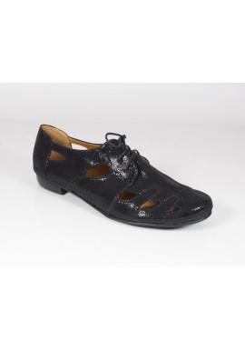 Półbuty ażurowe 1449 sandały czarny Manufaktura JOZEFF