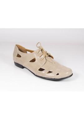 Półbuty ażurowe 1449 sandały beżowy Manufaktura JOZEFF