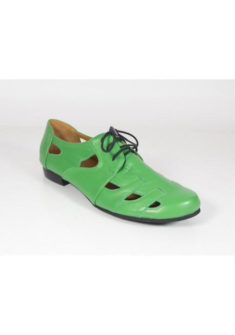 Półbuty ażurowe sandały zielony Manufaktura JOZEFF