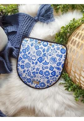 Welurowy mały portfelik niebieski