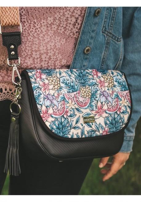 Sztruksowy portfel z pomponem różowy